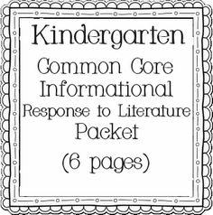 Teacher Time Savers: Response to Literature Common Core (free)