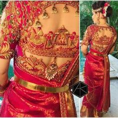 200 Latest Indian Saree Blouse Designs Patterns Back & Front Neck Are you looking for saree blouse designs latest patterns? Here is the collection of latest indian saree blouse designs with front & back neck designs. Wedding Saree Blouse Designs, Pattu Saree Blouse Designs, Saree Blouse Patterns, Blouse Neck Designs, South Indian Blouse Designs, Choli Designs, Saree Wedding, Wedding Bride, Saris Indios