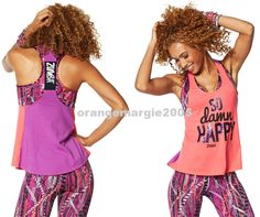 """Zumba So Awesome Loose Tank Top """"Happy"""" Corally Yours Z1T01045 FAB,RARE S M L XL…"""