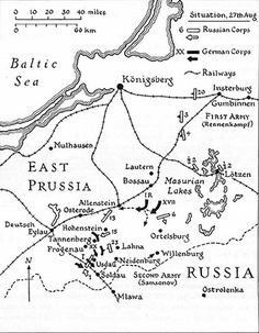 Image result for battle of tannenberg 1914 map