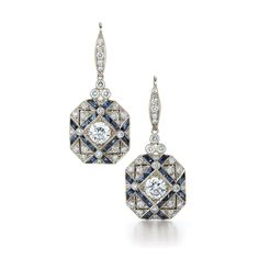 Trellis sapphire and diamond earrings from the Kwiat Vintage Collection