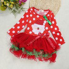 2016 new Christmas girl long sleeve dress baby dot dress cotton baby clothing clothing Christmas party outfit(China (Mainland))