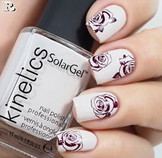 Flowers Nail Art New Idea for Spring 2018 - Reny styles Rose Nails, Flower Nails, Beautiful Nail Designs, Cute Nail Designs, Flower Nail Designs, Wedding Nails For Bride, Pretty Nail Art, Nail Stamping, Trendy Nails
