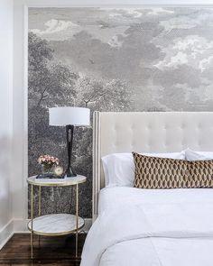 New Bedroom White Marble Bedside Tables 29 Ideas Wallpaper Headboard, Framed Wallpaper, Wallpaper Quotes, Black Gold Bedroom, Gray Bedroom, Trendy Bedroom, Bedroom Decor, Head Boards, Quartos