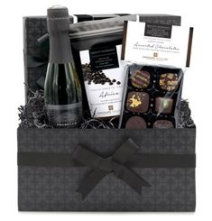 A mini, dark chocolate gift hamper, containing a bottle of Il Caggio, extra dry Prosecco, 6 ``Superior Selection`` assorted dark chocolates and a pouch of single-origin dark chocolate drops from our gourmet chocolate range. Hampers For Men, Gift Hampers, Wine Gift Baskets, Basket Gift, Birthday Hampers, Gift Box For Men, Chocolate Hampers, Valentines Gift Box, Cute Birthday Gift