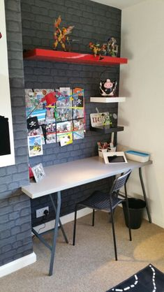 Big boys room. Brick wallpaper.  Funky grey boys bedroom. Chimney breast desk.  Created by Linndesigns in collaboration with Peter McMurray decorators