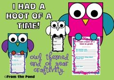 """Owl """"Hoot of a Time"""" End of School Year Writing + Craftivity  USA + Australian Spelling"""