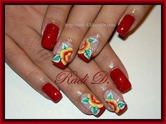 In red - Nail Art Gallery Red Nail Art, Cool Nail Art, Red Nails, Spring Nail Trends, Spring Nails, One Stroke Nails, Nailart, Nail Candy, Manicure And Pedicure