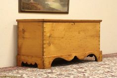 Country Pine 1850 Blanket Chest 6 Board Trunk or Bench