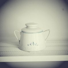 Sugar bowl with logo of Orbis (Polish National Travel Agency), bought on flea market in Kraków, Poland.   #wysokipolysk #FleaStyle #kitchen #logo