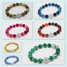Mix Selection of Bracelets beaded with Agate & Crystal Glass Beads! www.beadnic.com
