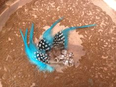 Teal Feather Rhinestones Hair clip Wedding by annmariesisters3, $20.00