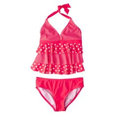 Xhilaration Girls Polka Dot Tankini Swimsuit  I'm not a fan of triangle top bathing suits for little girls but this is ADORABLE!!!