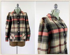 vintage 50s Pendleton 49er jacket // 1950s pink plaid Pendleton jacket // 50s wool jacket