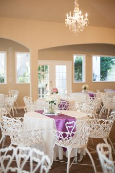 Our standard reception decor with a pop of color from the bride and groom's table runners. Jessica Pledger Photography