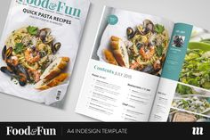 Food&Fun Magazine InDesign Template by Mate Toth on @creativemarket