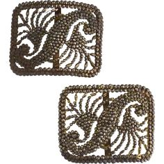 Vintage marcasite shoe buckles French bronze