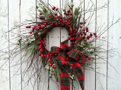 Country Christmas Berry Wreath Tartan Bow by marigoldsdesigns, $62.00
