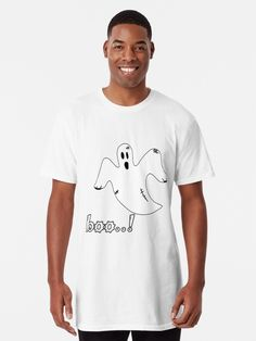Boo Ghost, Large Prints, Tshirt Colors, Chiffon Tops, Shirt Designs, Fabric, Mens Tops, How To Wear, Cotton