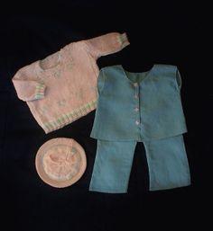 "Vintage DOLL Clothing CREPE Silk Blue Pants Blouse WOOL Pink Sweater Hat 22"" Dolls Four Pieces c.1930's #EffanbeePatsyLouClothes #VintageDollClothes https://www.etsy.com/listing/179391193/vintage-doll-clothing-crepe-silk-blue?ref=shop_home_active_24"