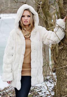 Blonde Mink Couture Hooded Faux Fur Jacket | Fur jacket, Mink and Fur