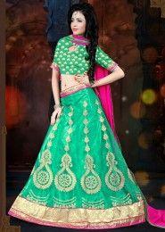 Party Wear Green Net Embroidered Work Lehenga Choli