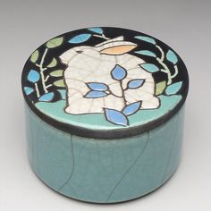 Rabbit Box a round handmade raku fired clay box by DavisVachon, $69.00