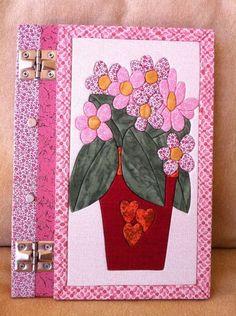 Caderno tipo fichário vaso de flores | Ra & Ro Patchwork | 165650 - Elo7