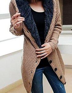 Women's Sweater Long Sleeve Hooded Hoodie Knit Cardigan