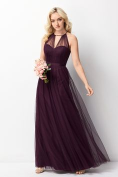 Wtoo Style 242 by Watters Bridesmaid Dress - Bobbinet Tulle - Modern and romantic, this flowy Bobbinet style features a sheer, high halter neckline over a sweetheart sheath silhouette. The front can be worn closed or open to show a peek of skin. Burgundy Bridesmaid Dresses, Wedding Bridesmaid Dresses, Prom Dresses, Wedding Gowns, Red Wedding, Summer Wedding, Eggplant Dress, Maid Of Honour Dresses, Perfect Wedding Dress