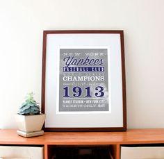 New York Yankees Baseball Print, Custom to Your Team 11 x 14. $32.99, via Etsy.