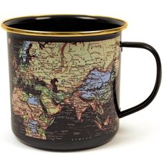 World Map Enamel Mug - Blue