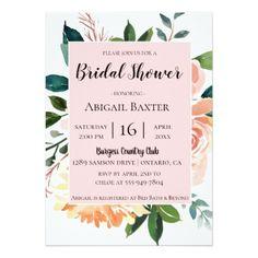 Blush Watercolor Floral Bridal Shower Invitation - invitations custom unique diy personalize occasions