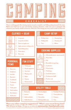 Print this FREE camping checklist from FamilyTrails & Outward Bound Adventures!