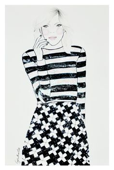 Spring 2013 Trend: Black and White stripes! Marc Jacobs, Spring/Summer 2013, Fashion Illustration