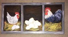 Chicken Painting, Chicken Art, Painted Mailboxes, Gourds Birdhouse, Garden Poles, Palm Trees Beach, Chicken Humor, Pet Chickens, Window Ideas
