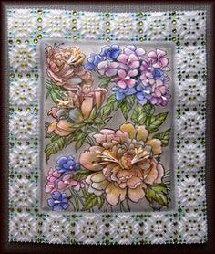 Parchment Craft作品「牡丹と紫陽花」