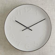 Mr. White Wall Clock/ Karlsson Wall Clock Mr. White Numbers Steel Polished: Remodelista