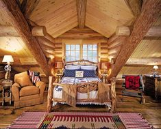 Rustic House Interior Ranch Bedrooms awesome The exact first step in building your home is currently underway. Keep in mind that Nethouseplans will also help you to fit the house plans on your pr. Log Cabin Living, Log Cabin Homes, Log Cabins, Mountain Cabins, Ideas De Cabina, Rustic Bedroom Design, Rustic Bedrooms, Bedroom Designs, Modern Bedroom