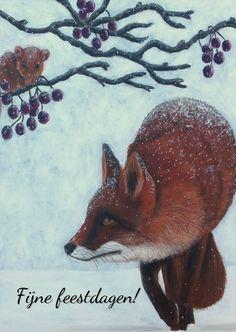 Vos in de kerstsneeuw, verkrijgbaar bij #kaartje2go voor €0,99