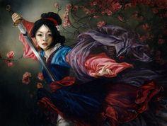 """The Elegant Warrior"" - Mulan, Mulan | 6 Gorgeous Disney Ladies As If They Were Oil Portraits"