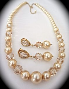 Bridal jewelry // Pearl necklace and earrings by QueenMeJewelryLLC, $89.99