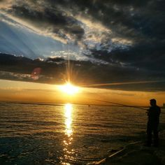 Sunset , fishing