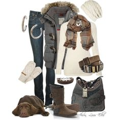 """Winter4"" by alison-louis-ellis on Polyvore....love this set and I have a dog that looks just like him!"