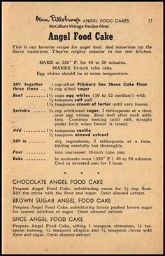 Vintage Ann Pillsbury Angel Food Cake Recipe