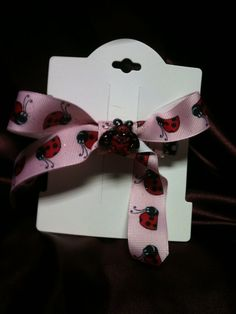 Handmade hair barrette large bow, red lady bug on Etsy, $5.00