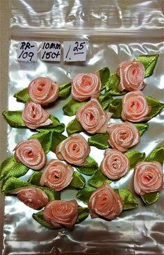 SOLD- RR-109, $1.25, Light Peach Ribbon Roses
