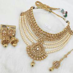 Engagement & Wedding Radient Ruby-green Kundan 4pcs Gold Polki Semi Bridal Necklace Set Dulhan Valentine Sale