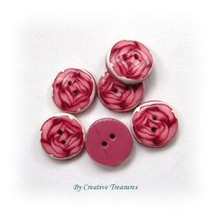 Handmade Polymer Clay Buttons, Pink Rose £5.00