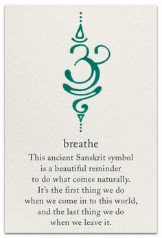 Breathe This Ancient Sanskrit Symbol Is a Beautiful Reminder to Do What Comes Na… Tattoo quates – Top Fashion Tattoos Simbolos Tattoo, Tatoo Henna, Body Art Tattoos, Small Tattoos, Cool Tattoos, Sanskrit Tattoo, Mantra Tattoo, Awesome Tattoos, Kundalini Tattoo